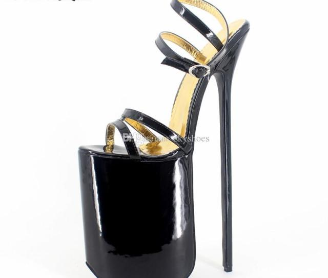 Wonderheel Extreme High Heel Sandal 30cm Heel With Platform Patent Leather Sexy Fetish High Heel Buckle Strap Sex Sandal Big Yard Us15 Shoes For Women Nude