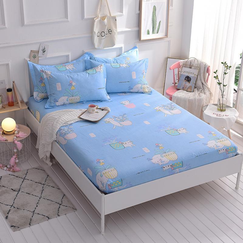 acheter drap de dessin anime mignon chat modele ajuste pour enfants enfants draps de lit 100 coton avec bande elastique double lit de la reine complete de