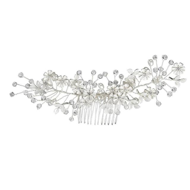 new simple bride silver headdress handmade imitation pearl alloy white flower insert comb wedding hair accessories wholesale