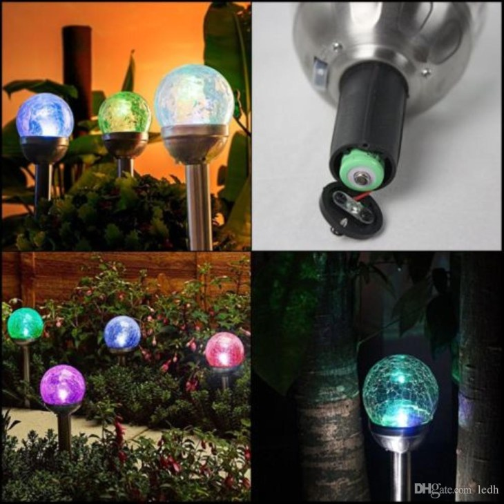 2019 Solar Lights Outdoor, Cracked Glass Ball Dual LED Garden Lights,  Crackle Glass Globe Color Changing LED & White LED Solar Path Lights From  Ledh, ...