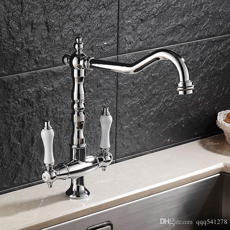 vintage style kitchen faucets ikea shelving 2019 european dual handle brass chrome jpg