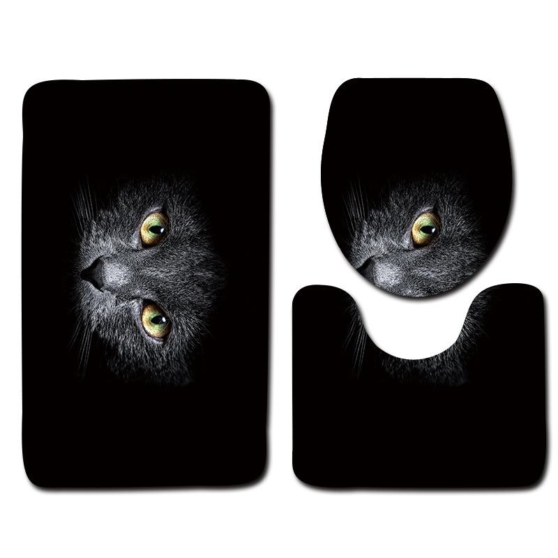 black bathroom mat set