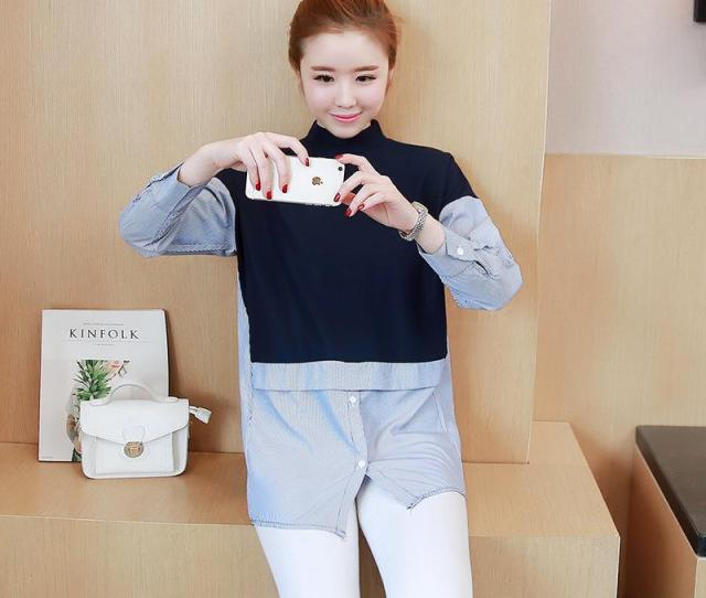 Autumn Spring Maternity Clothes Long T Shirt Buttons O Neck Clothes Pregnancy Women Full Sleeves Clothing Blue White Xl From Rainbowny
