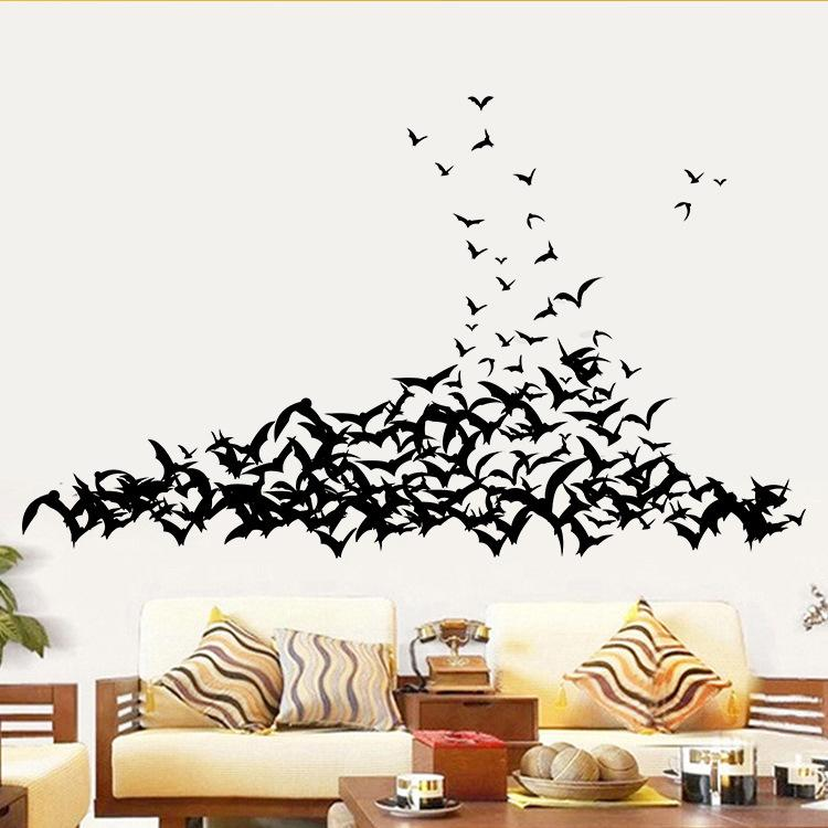 bat living room red black and white curtains halloween wall sticker bedroom background decorative