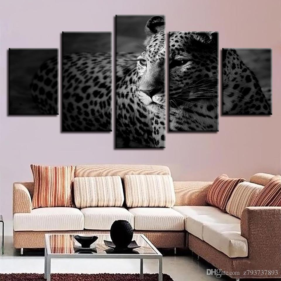 leopard decor for living room modern ceiling light fixtures 2019 canvas pictures painting home hd 5 pieces jpg