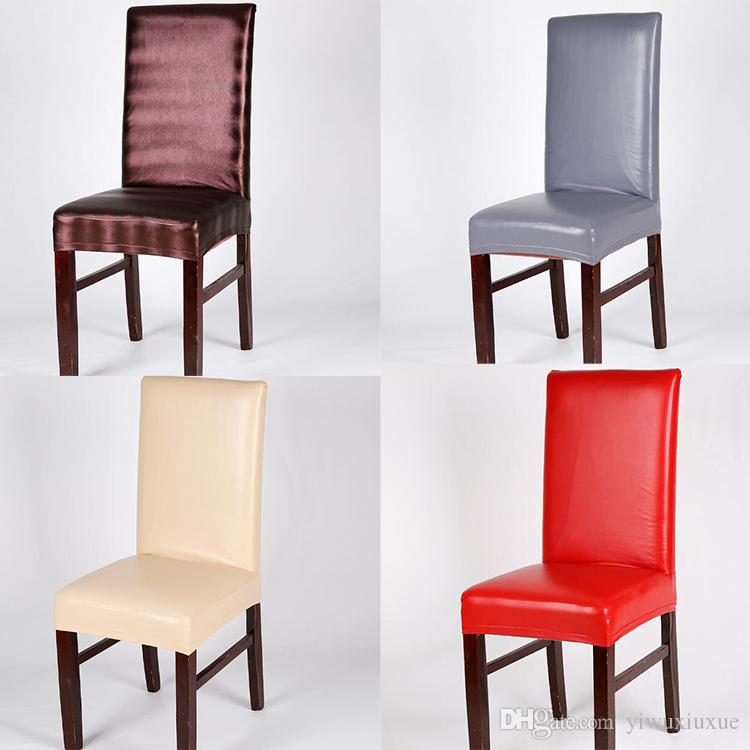 chair covers waterproof swivel near me pu dining solid elastic stretch faux leather cover universal home restaurant affordable cheap