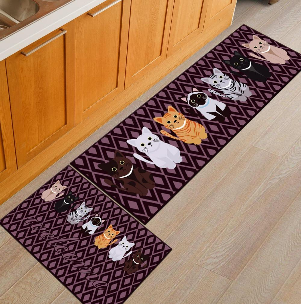 kitchen mats ikea kitchens usa 2pcs set cartoon print mat for floor soft carpet rug cooking children room patio furniture pads porch cushions