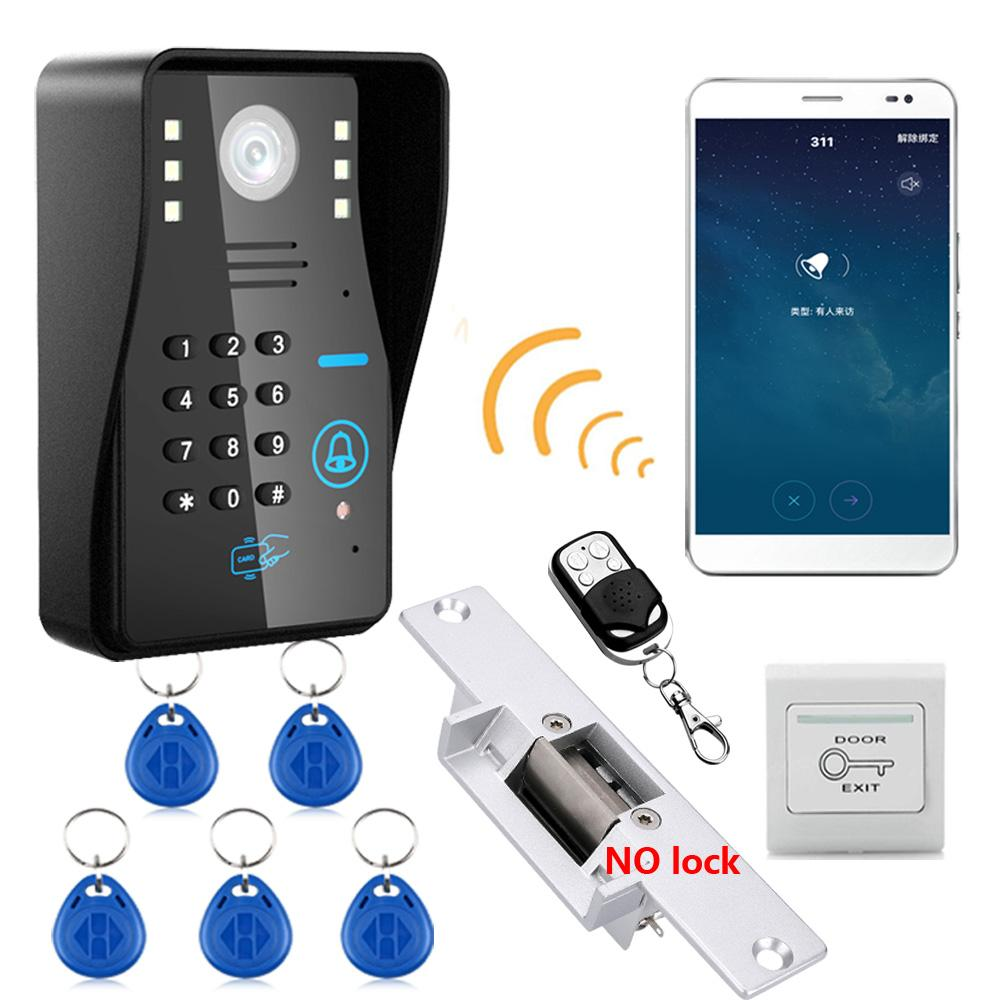 hight resolution of wireless wifi rfid password video door phone intercom system doorbell access control system no electric strike door lock