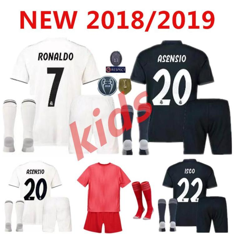 2020 18 19 Real Madrid Kids Soccer Jersey Kits Boys Child ...
