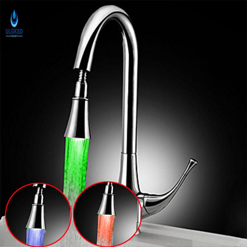 led kitchen faucet wall mounted cabinets 2019 ulgksd 2017 chrome copper pull out down sprayerdeck mount brass tap sink with mixer water taps from adeir