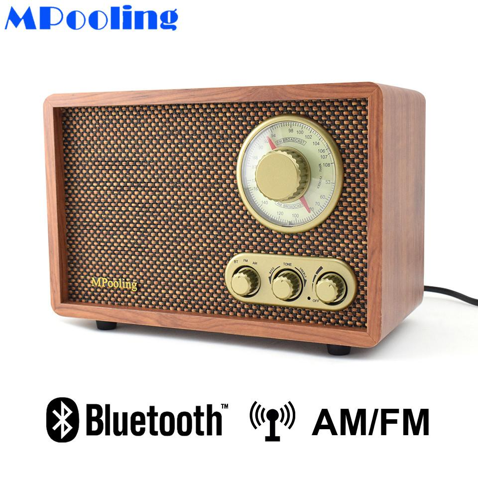 acheter mpooling bois de table am fm radio retro classique bluetooth radio treblebass controle haut parleur integre ac110 130 220 240v de 124 53 du