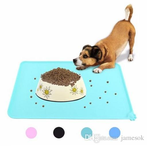 Wipe Clean Pet Supplies Pet Dog Puppy Cat Feeding Mat Pad Cute Silicone Bed Dish Bowl Food Water Feed Placemat 6 Colors B221