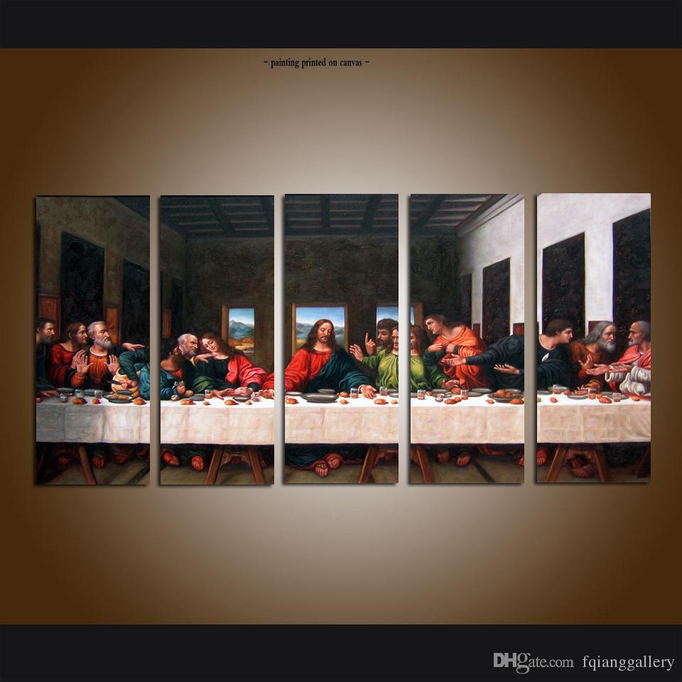 contemporary artwork living room small swivel chairs for 2019 large 5 panel set modern canvas wall art print painting christian the last supper jesus pictures home decor from
