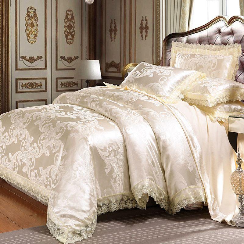 acheter ensemble de literie jacquard roi reine taille de luxe europeen housse de couette ensembles de lit de mariage housse de couette drap taies d oreiller