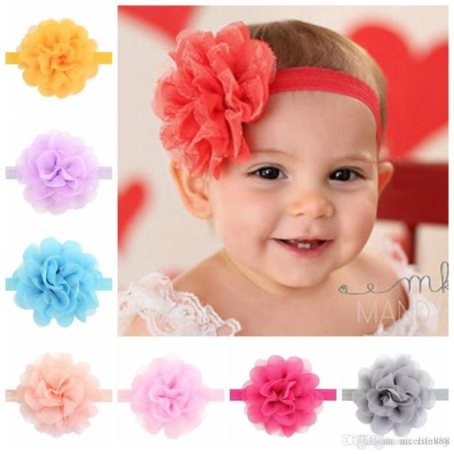 baby headbands flower hair accessories girls lace tulle chiffon headbands kids lovely elastic hairbands for baby free ship kha236
