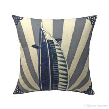 Burj Al Arab Building Digital Print Linen Blue Gold