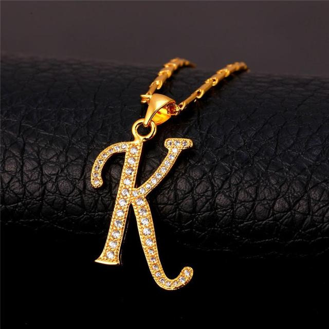 Wholesale Necklace Women Starlord Initial K Letter Pendants Necklaces Women Men Personalized Gift Alphabet Jewelry Gold Color Necklace P1681 Butterfly