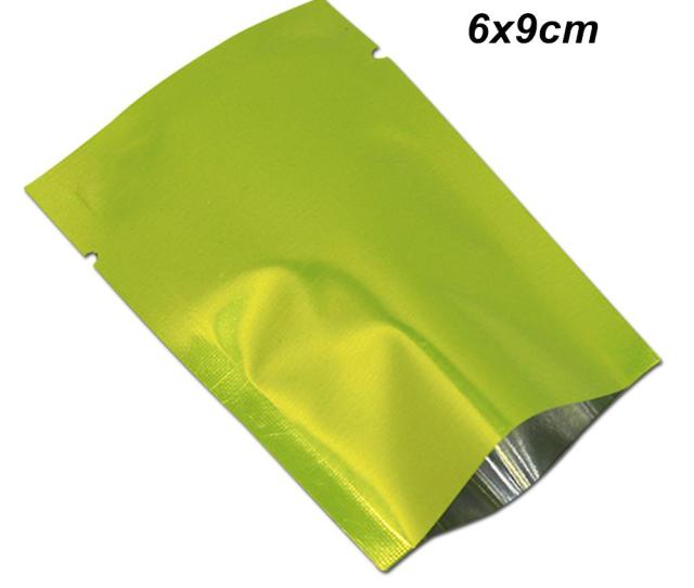 Sample Xcm Green Open Top Vacuum Mylar Foil Heat Seal Packaging Bags For Snack Dried Flower Aluminum Foil Heat Sealed Packing Pack Pouches Mylar Foil