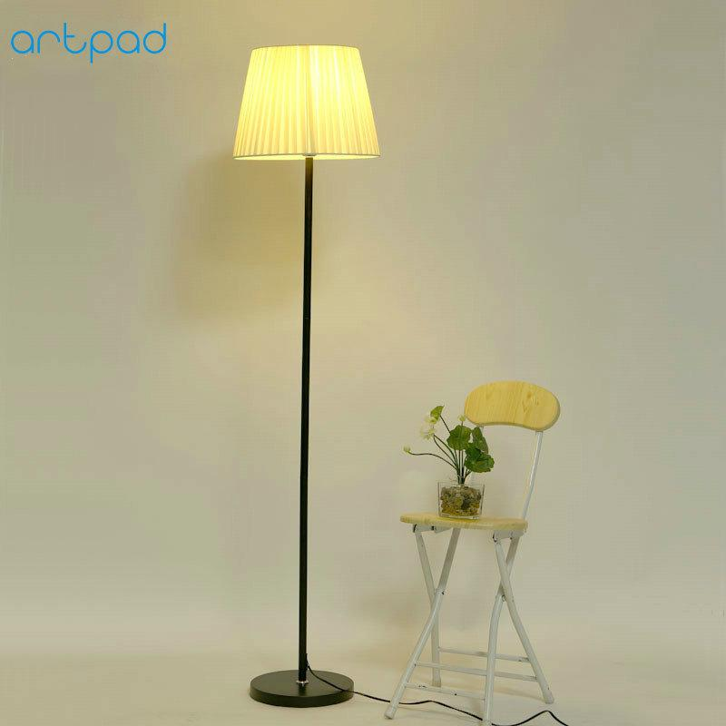 floor lamp living room small table and chairs artpad nordic bedroom fabric lampshade e727 stand led light with foot switch ac110v 220v canada 2018 from kirke