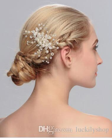 2018 new style bridal accessories bridal headpieces wedding hair accessory handcraft pearl hair ring diamond combs black hair accessories for weddings