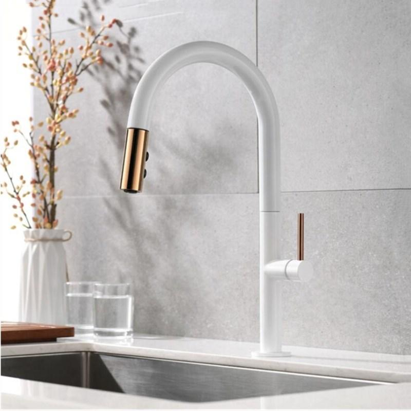 kitchen faucets cheap stand alone pantry 2019 newly arrived pull out faucet rose gold and white sink mixer tap 360 degree rotation taps from amaryllier 139 83 dhgate