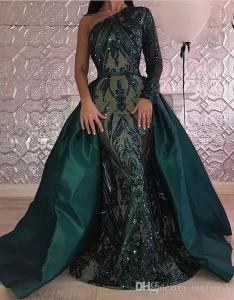 Long sleeves evening dresses arabic  line one shoulder emerald green pageant formal holiday wear prom party gown two piece unique also rh dhgate