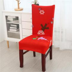 Christmas Chair Covers White Office Joe Rogan Home Dining Flower Printed Cover Cheap Baby Nursery Cute Kid Chairs