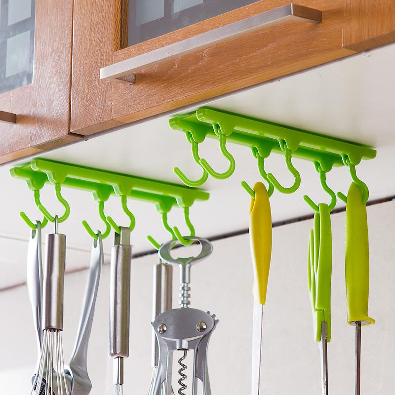 kitchen hooks curtain fabric for sale 2019 cabinet wall hook storage strong sticky 4 color up rails free shipping