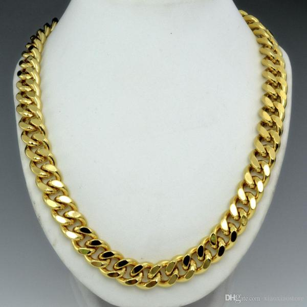2019 18k Gold Filled Mens Solid Heavy Chain Long Necklace
