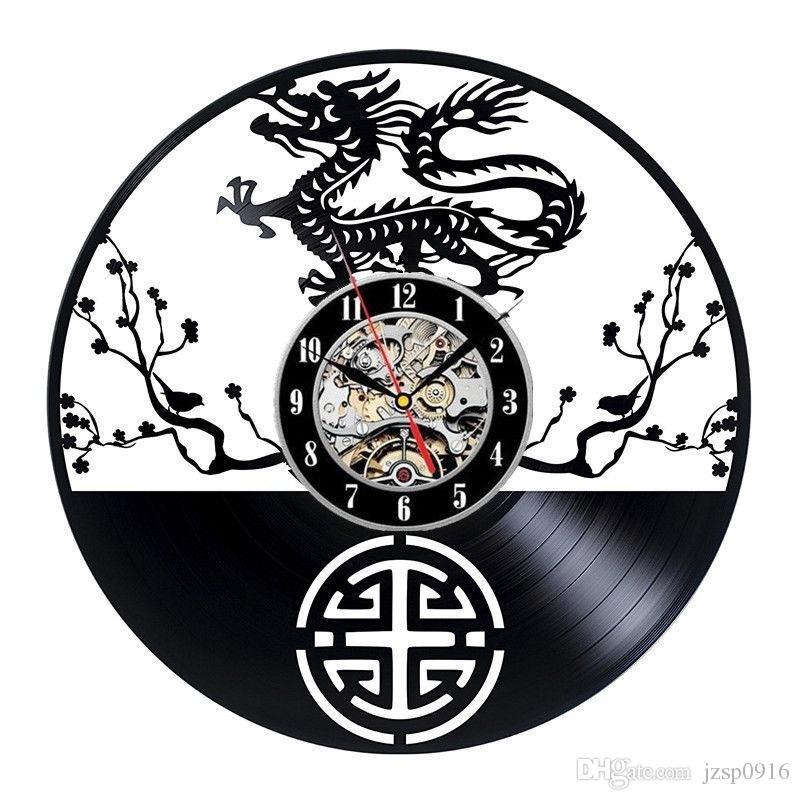 acheter chine dragon disque vinyle horloge murale cuisine unique decor mural art design mobilier maison souvenir taille 12 pouces couleur noir de 19 1