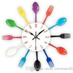 Kitchen Clocks Glacier Bay Faucet Cutlery Design Wall Clock Metal Colorful Knife Fork Spoon Creative Modern Home Decor Antique Style Watch Grandmother Green