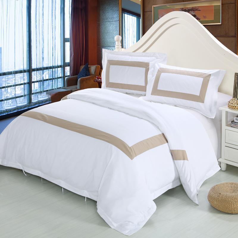 acheter white coon set de draps de lit twin queen king size ensembles de literie luxury hotel bed housse de couette linge de lit ensemble de draps plat