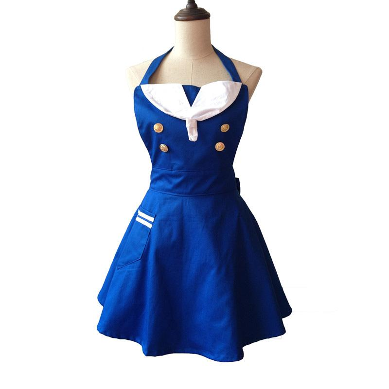 kitchen aprons home styles cart sailor cute apron cotton maid waitress manicure hairdresser cooking dress avental de cozinha divertido pinafore purple funny for