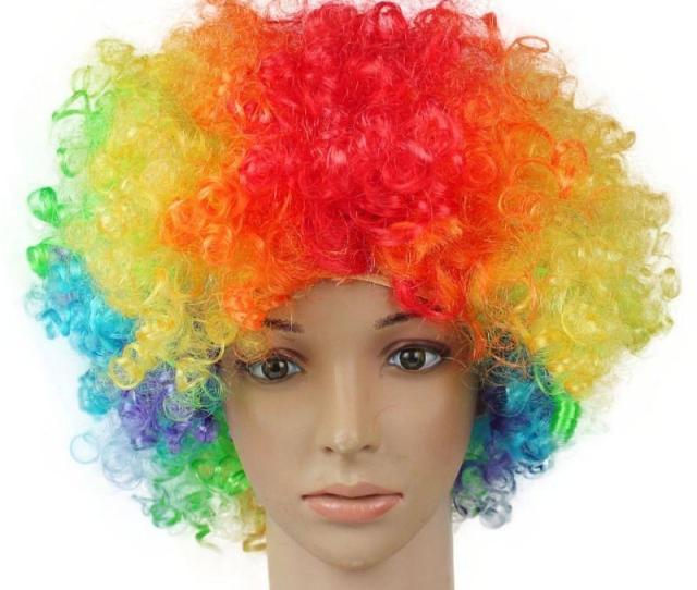 Halloween Disco Curly Wig Rainbow Afro Wigs Clown Child Adult Costume Football Fan Wig Hair Fan Fun Dog Party Hats Doggie Birthday Hats From Jingbaisha