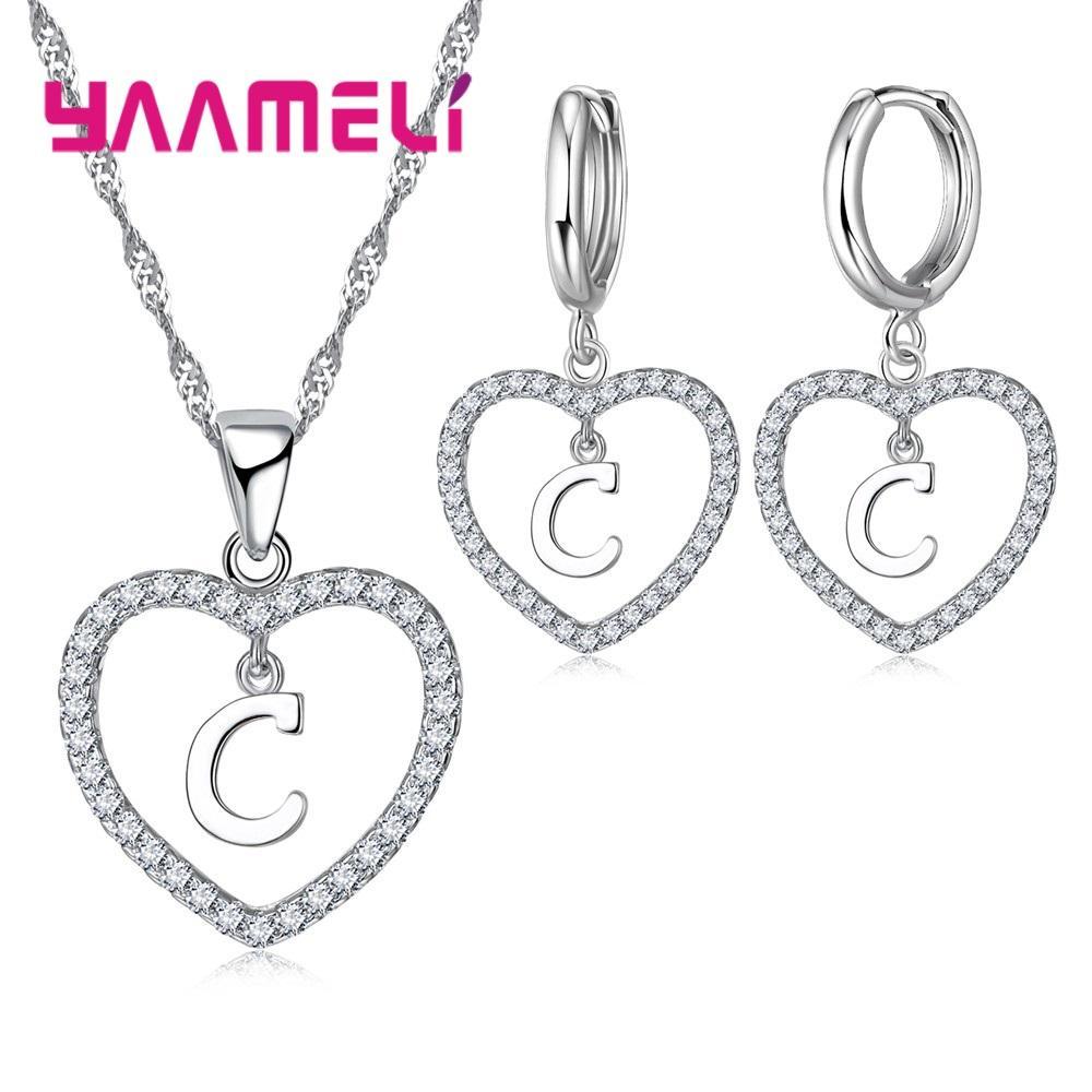 2018 Yaameli Romantic A Z Letters Jewelry Gift Sets For Women Femme Gift 25  Sterling Silver Austrian Crystal Heart Necklace Earrings From Homejewelry,