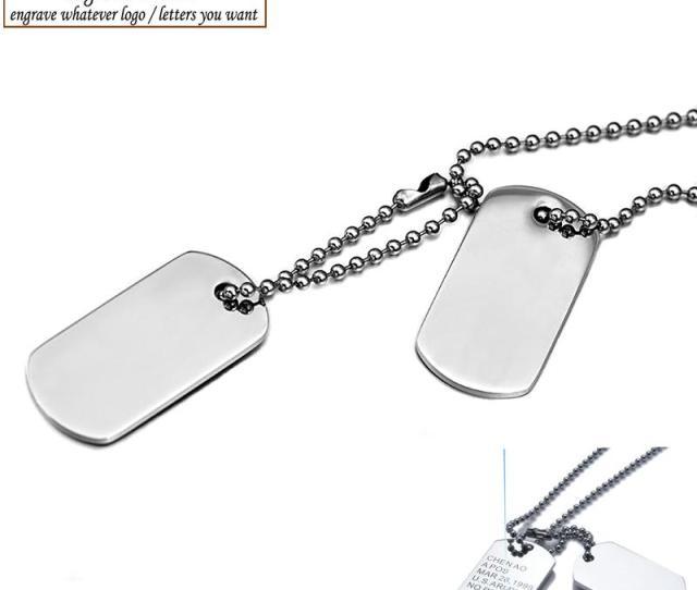 Wholesale Aziz Bekkaoui Men Jewelry Custom Dog Tag Pendant Necklaces Stainless Steel Pendants Army Id Tag Necklace Free Engrave Wholesale Jewelry Name