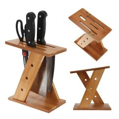 Kitchen Knife Storage With Glass Cabinet Doors 2019 Bamboo Tool Holder Rack Cross Shaped Multifunctional Holes Block Shelf Stand Wholesale Nb From Warmhome7