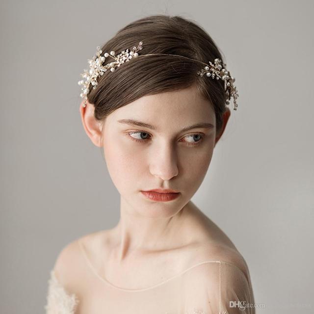 romantic gold pearl bridal hairband wedding hair accessories crystals bridal hair bohemian pearls headpiece coronas de la boda cpa1429