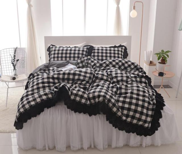 White Black Cotton Lace King Queen Twin Size Women Girls Bedding Set Bed Skirt Set Duvet Quilt Cover  Pillow Shams Full Duvet Cover Complete Bedding Sets