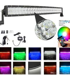 curved light bar 42 inch 240w 5d rgb led light bar 16 millions colors changing by bluetooth strobe light bar free wire harness high power led work light led  [ 1000 x 1000 Pixel ]