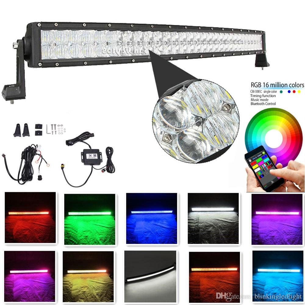medium resolution of curved light bar 42 inch 240w 5d rgb led light bar 16 millions colors changing by bluetooth strobe light bar free wire harness high power led work light led