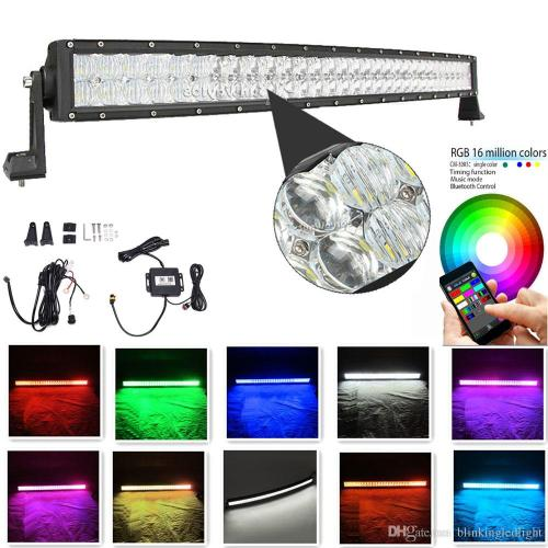 small resolution of curved light bar 42 inch 240w 5d rgb led light bar 16 millions colors changing by bluetooth strobe light bar free wire harness high power led work light led
