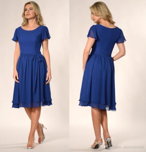 9dfac2f3f36 Short Sleeve Knee Length Blue Bridesmaid Dress · Royal Blue Short Modest  Casual Bridesmaid Dresses Wiyh