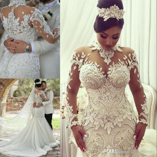 2019 Arabic Mermaid Trumpet Wedding Dresses High Neck Long