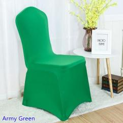Green Banquet Chair Covers Ergonomic Godrej Price Spandex Cover Army Colour Flat Front Lycra Stretch For Wedding Decoration Wholesale On Sale Wing