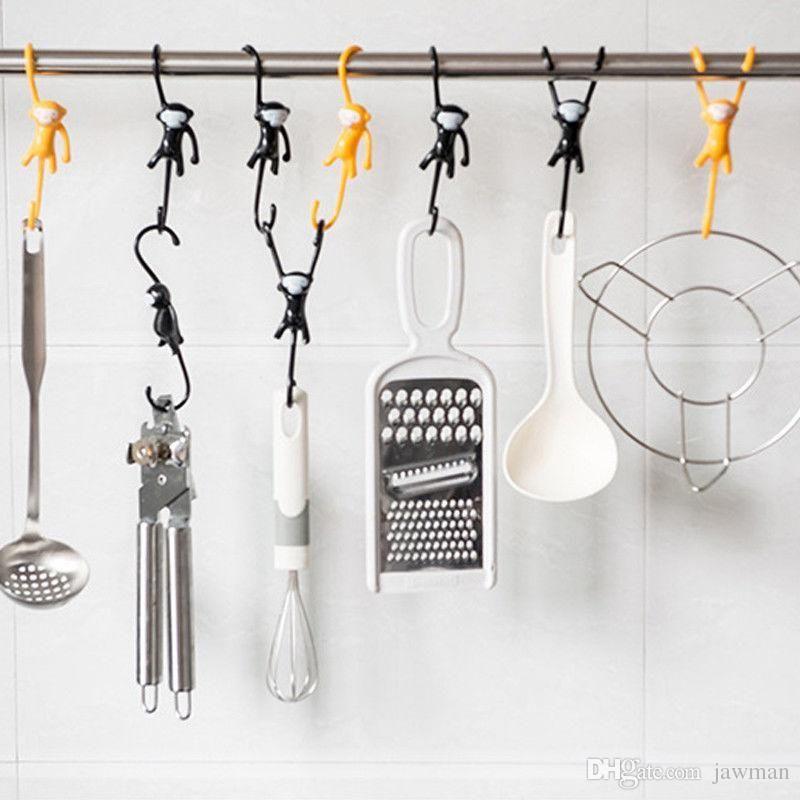 kitchen hooks big sinks 2019 cute monkey clothes hanging utensil hanger garden pot creative cartoon hand up style black yellow from lorman