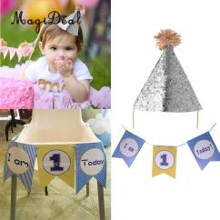 Age For High Chair Modern Wingback First 1st Birthday Decoration I Am 1 Today Boys Flag Garland One Banner Sequined Party Cone Hat Headband Hats Singapore