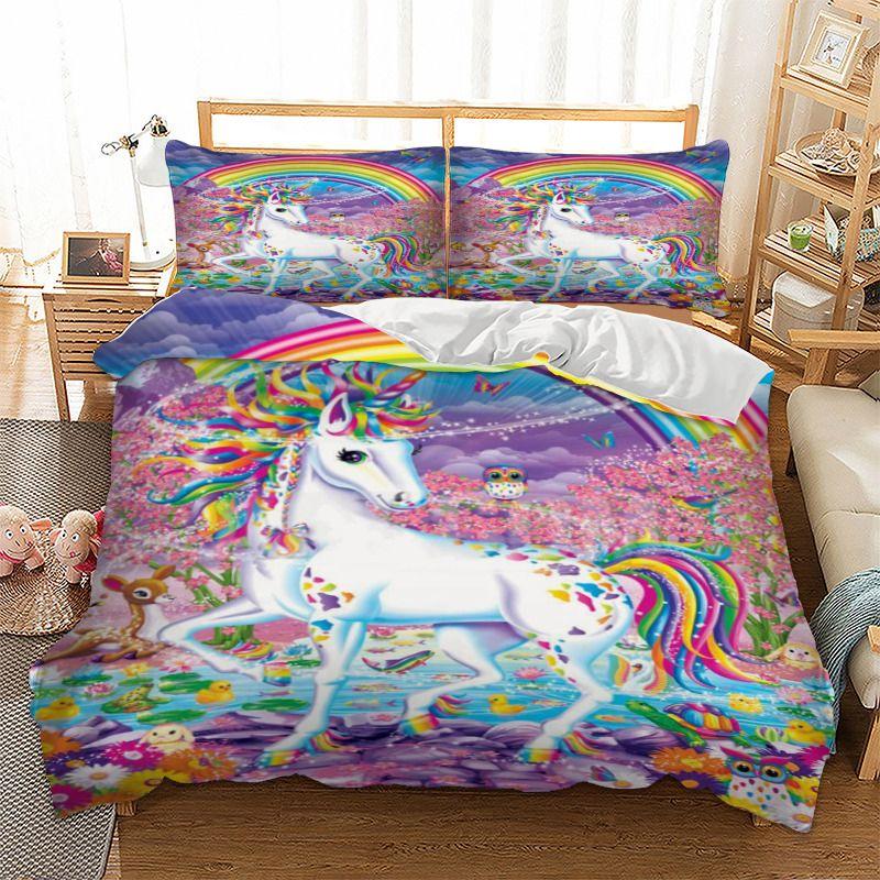 acheter ensemble de literie licorne rainbow housse de couette taies d oreiller twin full queen king uk double taille unique cartoon literie de 74 38 du