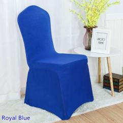 Royal Blue Chair Covers Star Wars Chairs For Kids Spandex Cover Colour Flat Front Lycra Stretch Banquet Wedding Decoration Wholesale On Sale Tablecloth And