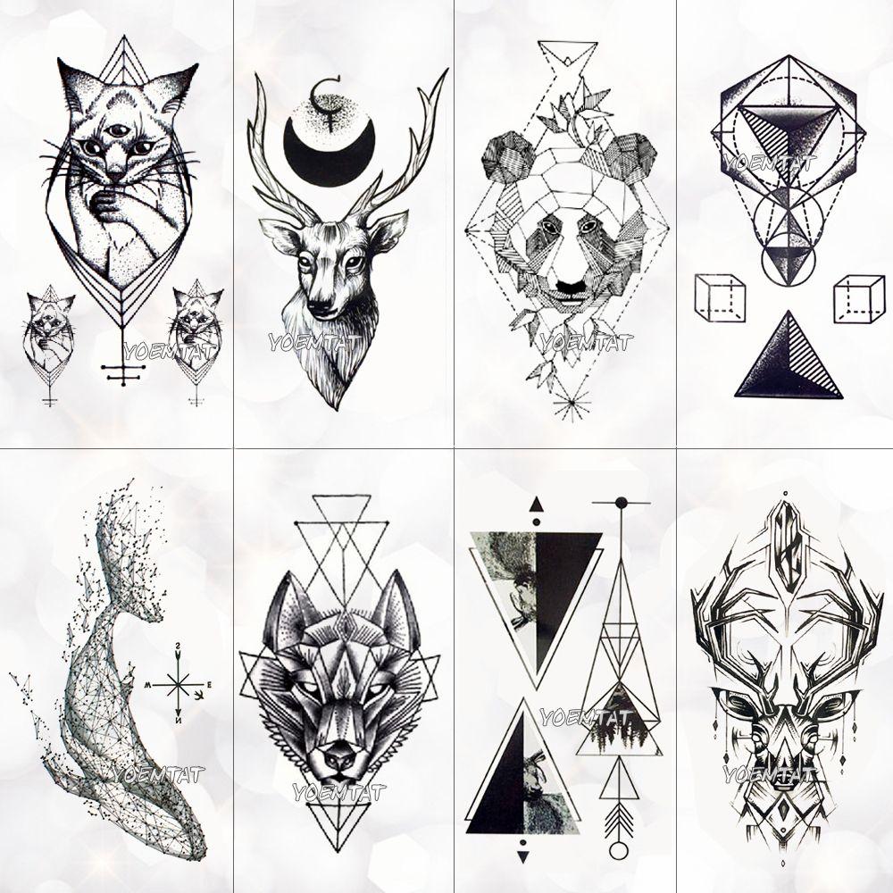 Geometría Cool Etiqueta Engomada Del Tatuaje Temporal Mujeres